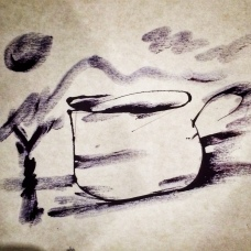 I was drinking a cup of coffee when I asked him and in about one minute he blew ink and used his fingers to create this.