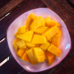 I have been doing my best to take advantage of all the delicious and nutritious fresh fruit they have here. For less than $1 this freshly sliced mango is too easy to not begin my day with.