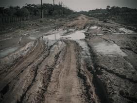 San Estanislao - Colonia Friesland, Muddy roads in Paraguay