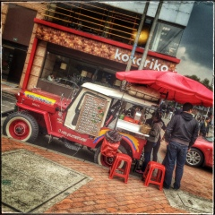 And the award for the best cup of coffee I have yet to find in Bogota goes to these Coffee Jeeps. For $1.25 you can't beat it.