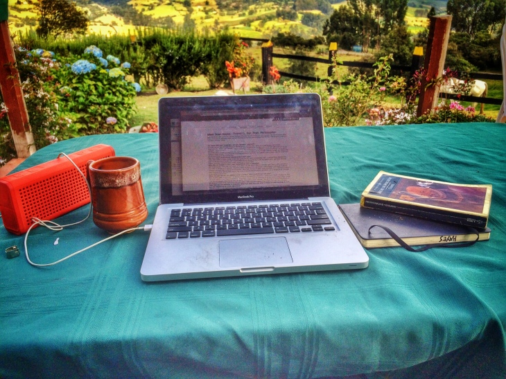 My morning work station on a small farm outside Bogota