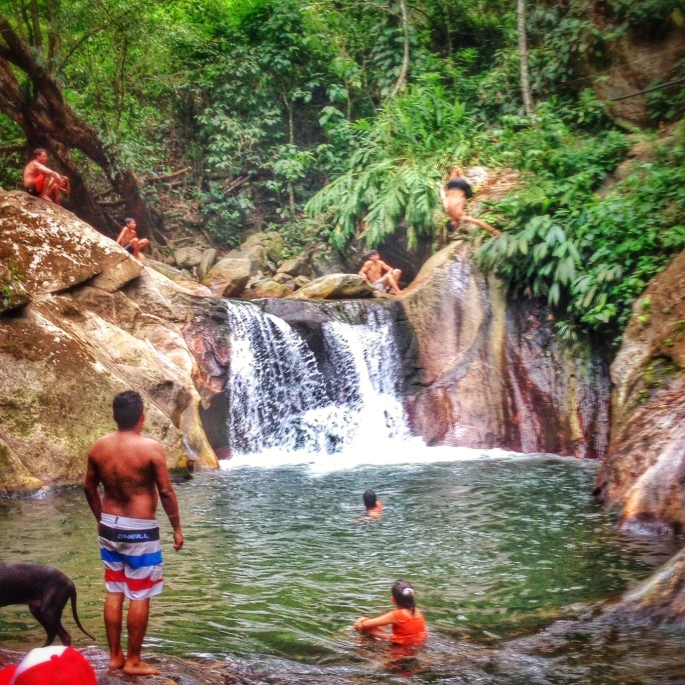 Flipping into waterfalls in Minca.